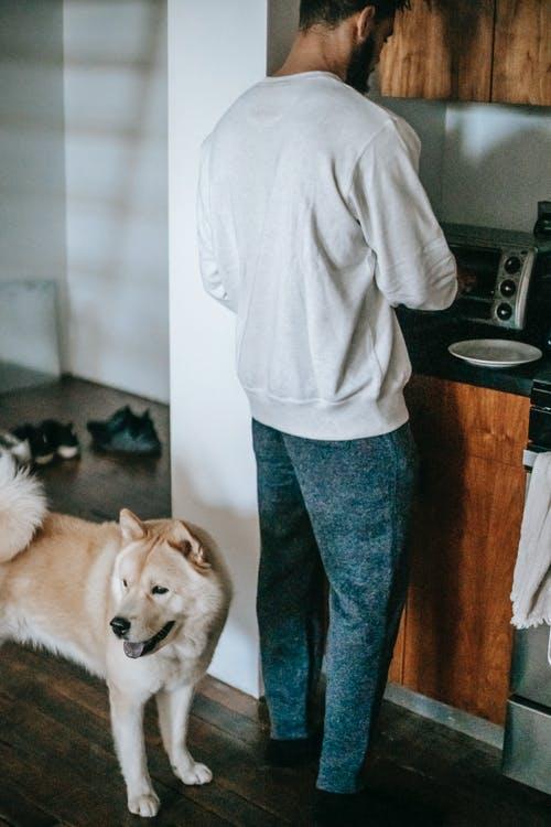 muž v kuchyni pes